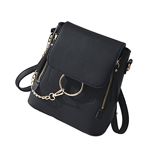 HENGSHENG Fashion Women Crossbody Backpack Purse Small Pu Leather Shoulder Bag Ladies Cute Chain Satchel Bag (BLACK) ()