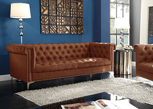 Fantastic Iconic Home Winston Pu Leather Modern Contemporary Button Tufted With Gold Nailhead Trim Goldtone Metal Y Leg Sofa Brown Ncnpc Chair Design For Home Ncnpcorg