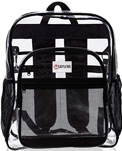 Clear Backpack For School XL. Heavy Duty Bookbag has TSA Approved Lock, Key Holder, Bottle Opener, 2-WAY Zip, Inside & Outside Zip Pockets, Expandable Side Pockets. Transparent PVC - H18''xW14''xD8