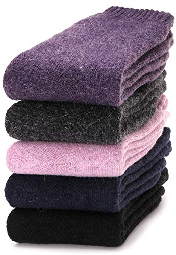 Womens Wool Socks Warm Thermal Thick Heavy Cold Weather Winter Socks 5 Pack (Solid Color C)