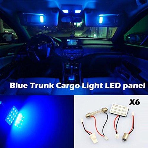 Partsam 6pcs 12SMD Blue Panel Light T10 BA9S Festoon for Car Interior Light Dome Map Lamps 12V