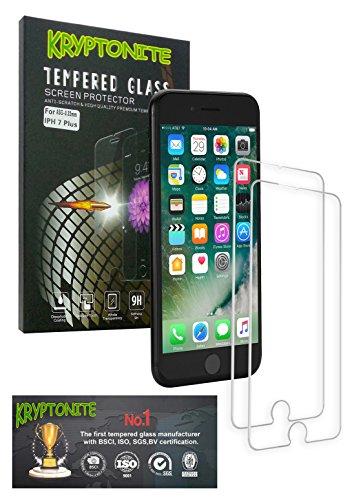 KRYPTONITE Protector de Pantalla de Vidrio para Apple iPhone 7 Plus Cubre y Protege la Pantalla de tu iPhone 7 Plus de Cadas, Impactos o Rayones con este Protector de Pantalla Invisible (2-Pzs)