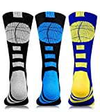 3 Pairs Basketball Crew Socks Mid Calf Cushion Athletic Sports Team Socks Youth Men Women