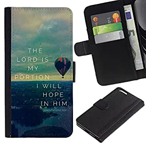 EuroCase - Apple Iphone 6 PLUS 5.5 - LAMENATIONS 3:24 THE LORD IS MY PORTION - Cuero PU Delgado caso cubierta Shell Armor Funda Case Cover