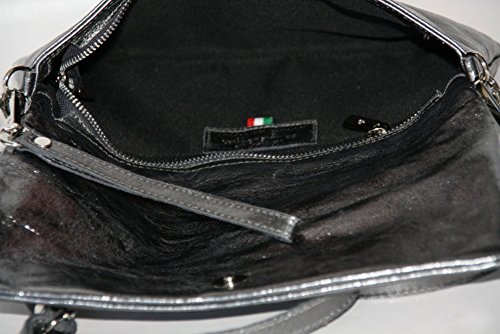Bolso del Sobre Clutch Bolso Cruzado para mujer con el lazo de la muñeca M2115 cuero Italy Gris oscuro
