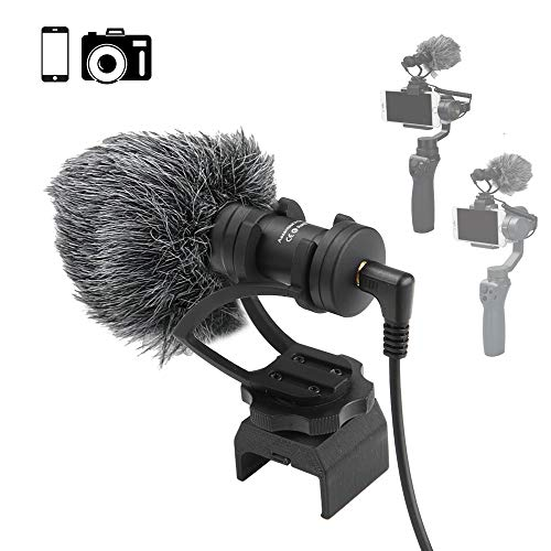 RCGEEK Microphone Video Mic Compatible with DJI OSMO Mobile 1 and DJI OSMO Mobile 2 Smartphone GoPro and DSLR Camera