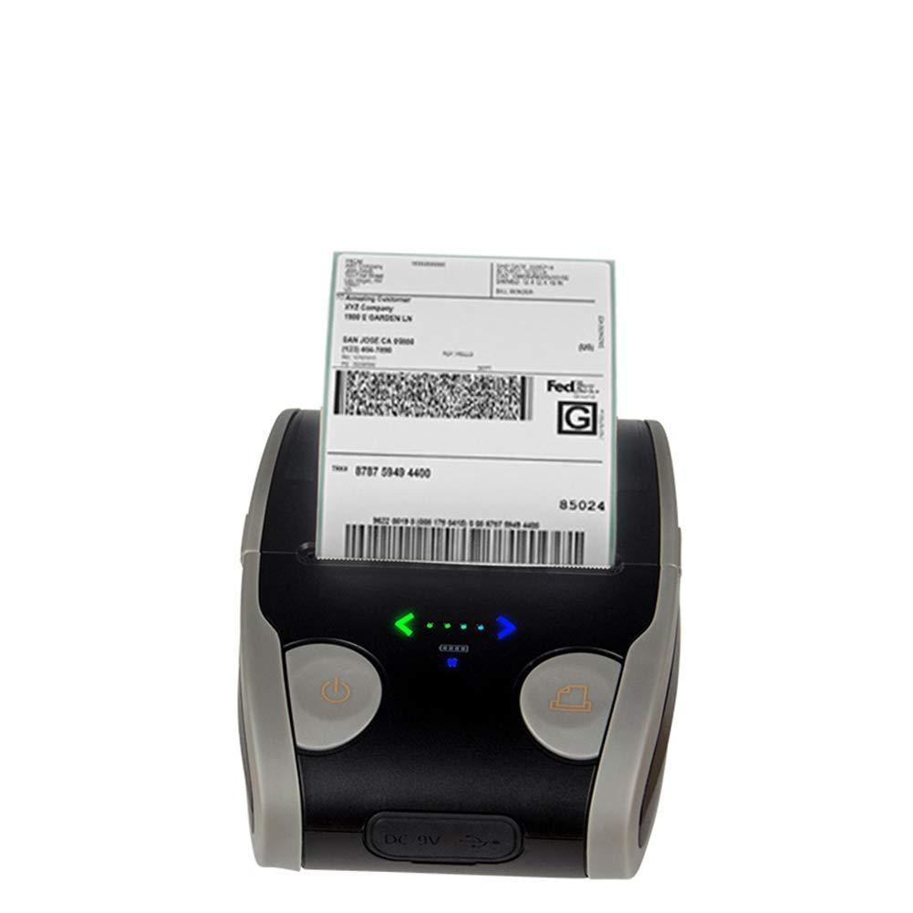 QIONGQIONG Mini Porta Portatile Etichetta Termica Stampante USB Bluetooth, Stampante Ricevuta Personale Compatibile con Android E iOS, Sistema Windows E Comando ESC/POS Print Set,Blackgray