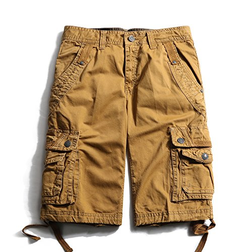 Men's Cotton Lesuire Multi Pockets Cargo Shorts soil yellow 36 ()