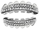 platinum diamond grillz - Hip Hop Platinum Silver Plated Removeable Mouth Grillz Set Rows of Bling