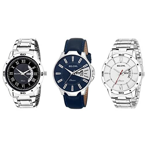 Bigowl Combo Of 3 Analogue Day And Date Watches For Men/Boys