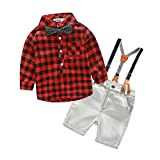 Boys 2Pcs Long Sleeve Plaid Casual Shirt Short Jeans Set With Suspender Straps(4T, Red)