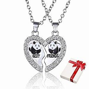 2 pcs chaîne de dames pendentif en argent avec strass pour couples , colliers d'amitié coeur meilleurs amis collier Hasl…
