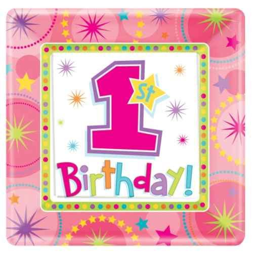"""Amscan One-derful Birthday Girl 7"""" Square Plates - 8 ct"""
