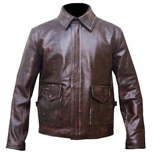 Harrison Ford Indiana Jones Brown Distress Leather Coat Style Jacket, XL