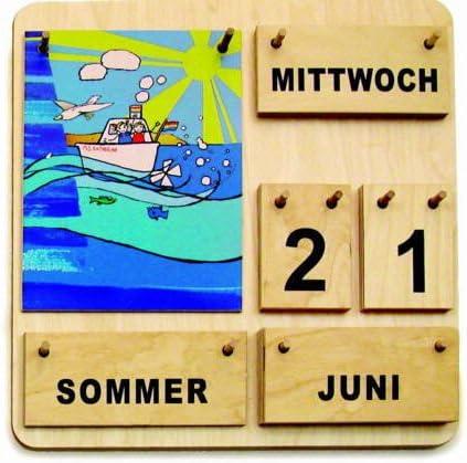 MontessoriPlus Kinder Lernkalender Dauerkalender aus Holz Made in Germany