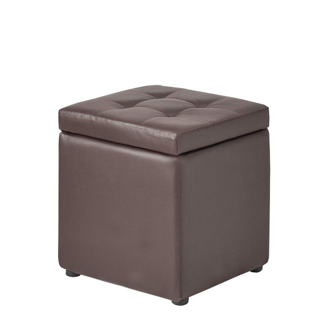 Footstool and ottomans small Footstool, Brown Solid Wood Storage Cabinet Leather Cushion for Home Replacement Shoes Stool Bedroom Living Room Sofa Bench, 30cmx30cmx35cm home office outdoor camping tab by ZLZDZ