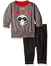 Baby Boys' 2 Piece Long Sleeve Top with Side Snaps and Knit Denim Pant