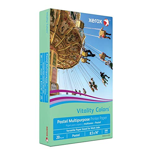 Xerox Vitality Colors Multipurpose Printer Paper, Legal Paper Size, 20 Lb, 30% Recycled, Green, Ream of 500 Sheets