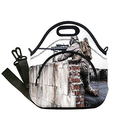 Insulated Lunch Bag,Neoprene Lunch Tote Bags,War Home Decor,Army Sniper Warrior Targeting on Roof during the Operation Commando Task Theme,Multi,for Adults and -