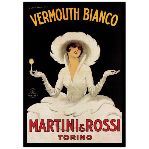 Vermouth Bianco Martini and Rossi Artwork by Marcello Dudovich, 24 by 36-Inch Canvas Wall Art
