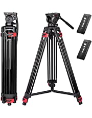 Heavy Duty Tripod 72 inch, Lusweimi Professional Aluminum Video Camera Tripod with 2 Pcs Universal Quick Release Plate, 360 Degree Fluid Head and Mid-Level Spreader, Max Load 17Lbs for DSLR