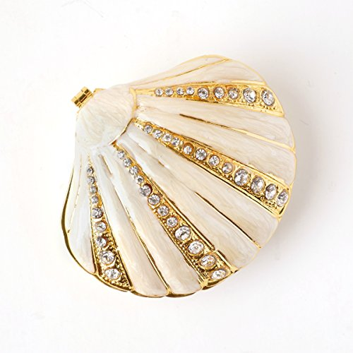 Apropos Hand- Painted Seashell Trinket Box with Rich Enamel and Sparkling Rhinestones Jewelry Trinket Box (Ivory)