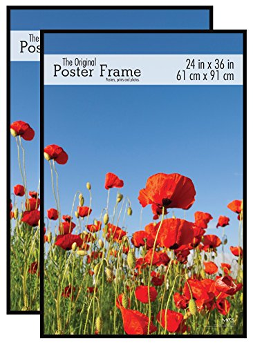 MCS 24x36 Original Poster Frame in Black with Pressboard Back and Styrene Glazing (2-Pack)
