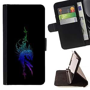 For Motorola Moto E ( 1st Generation ) Case , Tribal Blue Dragon- la tarjeta de Crédito Slots PU Funda de cuero Monedero caso cubierta de piel
