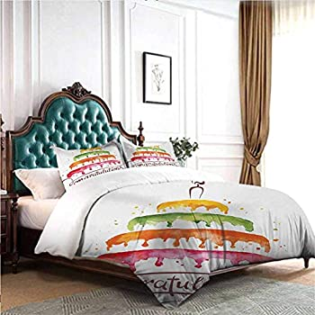 Image of Home and Kitchen dsdsgog All-Season Bedspread with Floral Printed Birthday,Watercolor Set for Celebration Flags Surprise Box Balloons and Happy Best Wishes,Multicolor 90x104 inch Wrinkle Fade and Stain Resistant