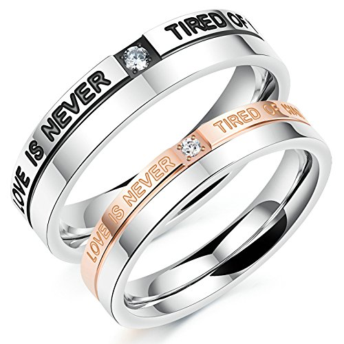 l 1 Pair Rings Engagement Rings Wedding Band Silver Rose Gold Cubic Zirconia Rings With Free Engraving Womens 8 & Men 7 Novelty Jewelry Gift (22k Gold Wedding Band)