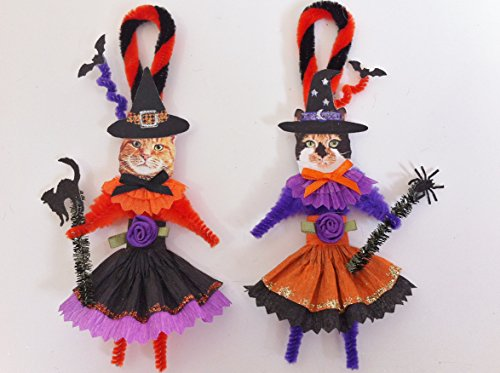 Cat Halloween Witch Duo Vintage Style Chenille Ornaments Set of 2 ()