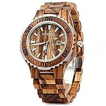 BigBen 100BG Mens Natural Bamboo Wooden Quartz Watch with Analog Date Display