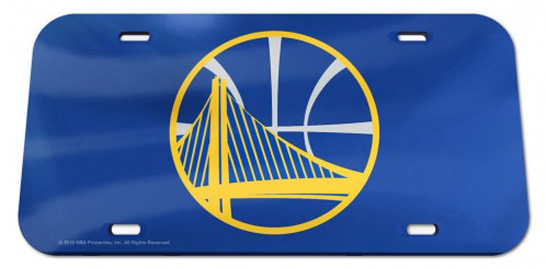 NBA Golden State Warriors Crystal Mirror License Plate, 6 x 12-Inch