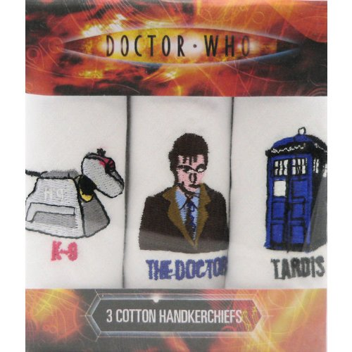 Dr Who Handkerchiefs - K-9, The Doctor & The Tardis Mag Mouch Sophos