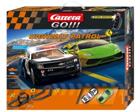 Carrera GO!!! Highway Patrol Slot Car Race Track 1:43 Scale Analog System - Includes Two Cars and Two Dual-Speed Controllers - Sheriff Chevrolet Camaro ZL1 Lamborghini Huracan LP 610-4 Ages 8 and Up Electric Racing Slot Cars