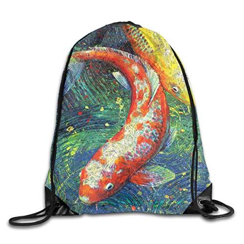Art Painting Brocade Carp Good Luck Patterned Themed Printed Drawstring Book School Shopping Travel Back Bags Draw String Gym Backpack Bulk Girl Boy Women Men ()