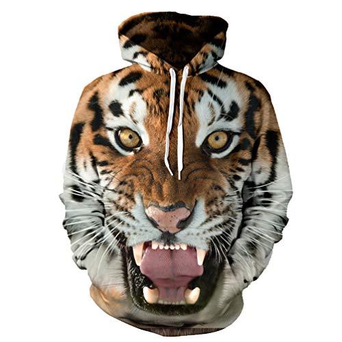 Tigers Womens Hoodie Sweatshirt - XMiniLife New Digital Print Hoodie Sweatshirt,Tiger S/M