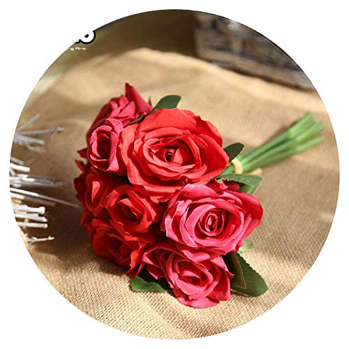 1 Bunch Roses Artificial Flowers Fake Plastic Silk Flower Bridal Bouquet for Wedding Home Decoration 6 Color B1001,Red