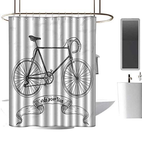 Mannwarehouse Bicycle Fabric Shower Curtain Ride Your Bike Lettering with Nostalgic Mountain Bike Hand Drawn Sketchy Single stall Shower Curtain W72 xL72