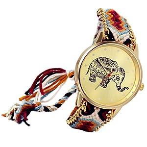 cf4d95d1e3b2 Lancardo Reloj Analógico de Cuarzo Dial Dorado con Elefante Tailandés  Marcadores de Puntos Pulsera Electrónica de Moda Correa Trenzada Colorida  Ajustable ...