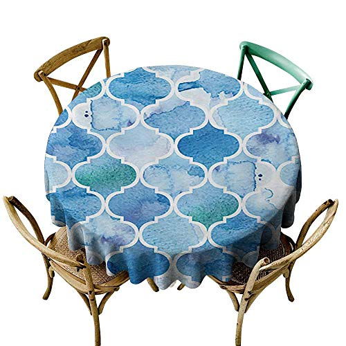 Elegant Waterproof Spillproof Polyester Fabric Table Cover Watercolor Abstract Moroccan Trellis Geometric Pattern Curves Persian Mosaic Design D59 ()