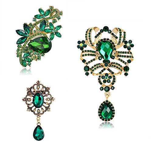 Ezing 3Pcs Green Rhinestone Crystal Flower Waterdrop Brooch Lot Gold Plated Pins Fashion Jewelry ()