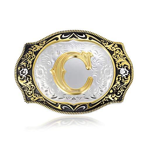 Belt Buckle Initial Letter Men Belt Buckles Men Western for Women (ABC-Z)