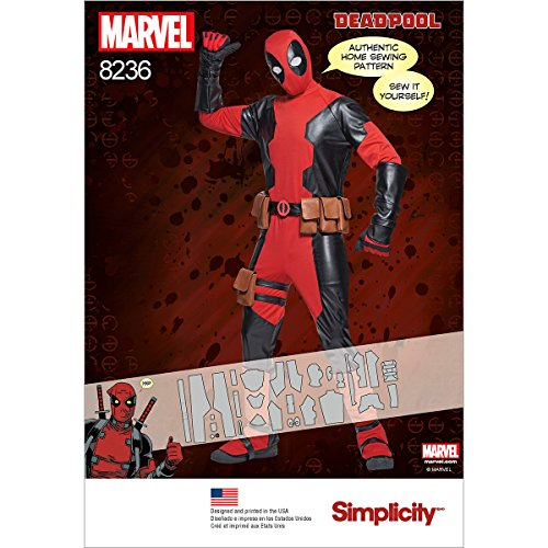 Simplicity Pattern 8236 Men's Deadpool Costumes Size A (XS-S-M-L-XL), A (A (X-Small/Small/Medium/Large/X-Large) -