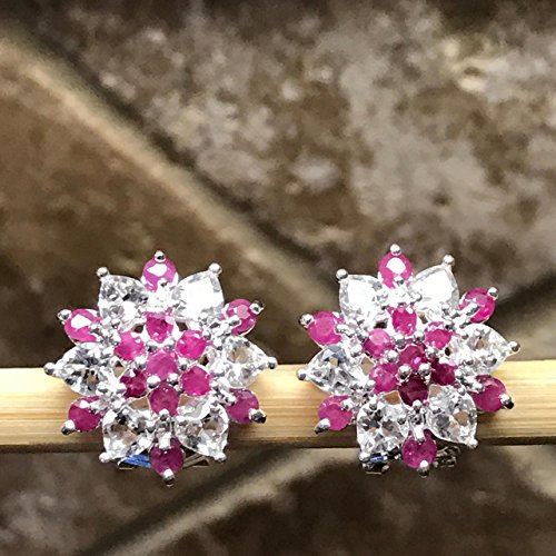 Estate Sterling Silver Earrings - Estate Natural 16ct Ruby, White Topaz 925 Solid Sterling Silver Earrings 17mm
