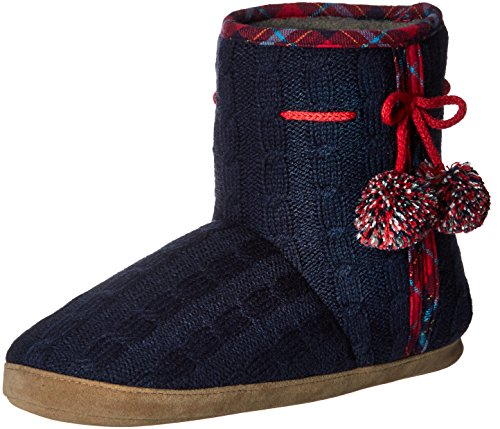 Isotoner Samantha Blue Cable Women's Boot Slipper Navy Knit rqgr5C