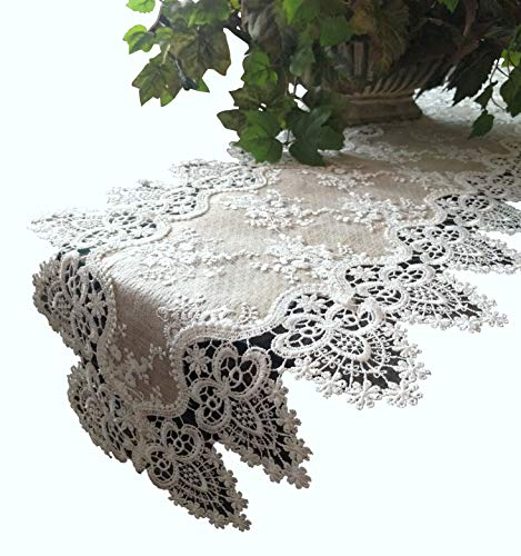 Galleria di Giovanni Lace Dresser Scarf Mantel Shelf Runner Doily Neutral Burlap Natural Taupe Antique Ivory Victorian 66 Inch