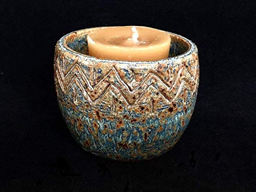 (Southwest Ceramic Candleholder - Rustic Votive Candle Holder - Tea Light Candle Holder)