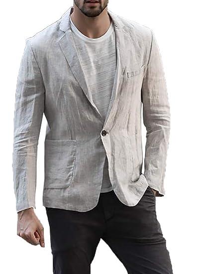 f5068f51597 Mens Linen Lightweight Two Button Blazer Suits Notched Lapel Casual Jacket  Slim Fit Sport Coat Beige