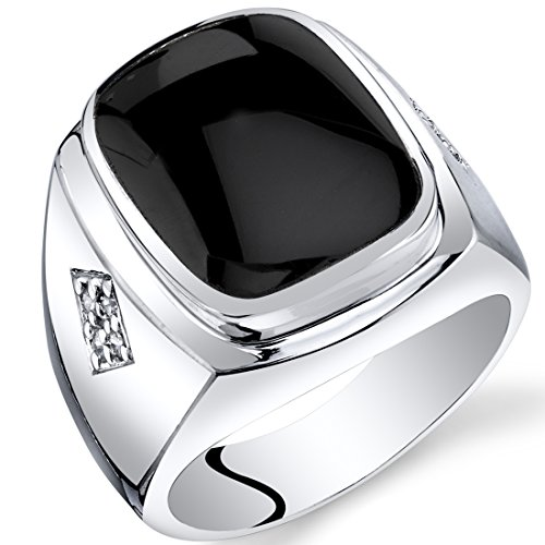 Cushion Cut Men Ring (Mens Cushion Cut Onyx Knight Ring Sterling Silver Size 9)